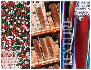 Trifold brochure outer panels displaying texture of sprinkles, a basket, and a blanket
