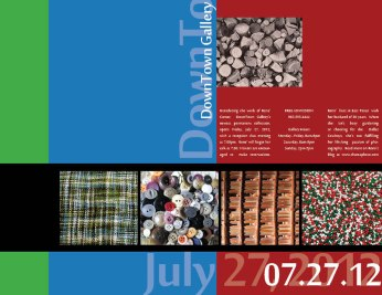 Trifold brochure inner panels displaying texture of sprinkles, a basket, and a blanket