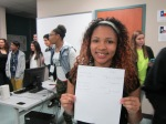 High school student at Lufkin High School poses with her budget sheet during my recruiting trip.
