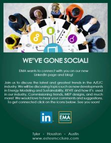 EMA Social Media flyer, InDesign, 2014, We've gone social, shows and image of businessmen and women around a table, connecting to each other through technology