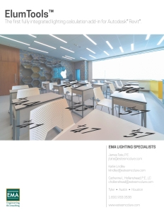 EMA ELUM Tools flyer, front, image of classroom and lighting