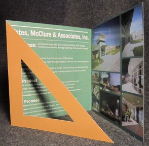 Brochure design for EMA, a triangle gate-fold design, inside view