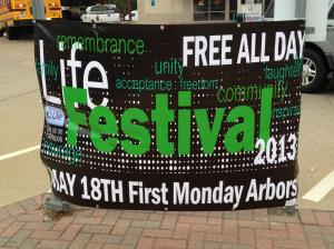 Photo of banner at Life Fest 2013