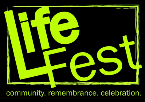 Life Fest logo design, neon green letters on field of black