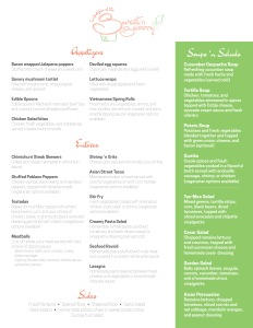 Menu design, front, for Lifestyles of the Sweet and Savory catering service