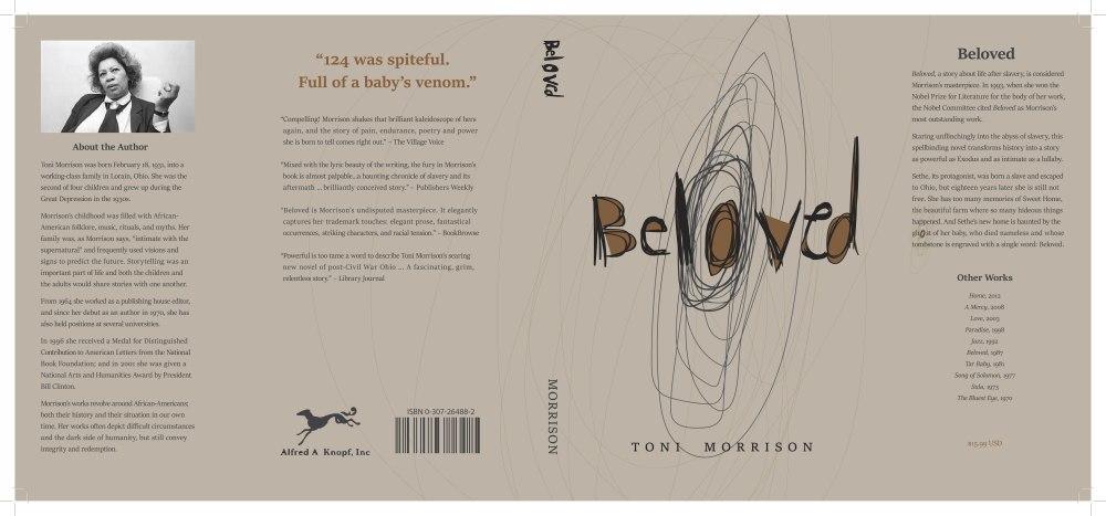 Dust jacket book cover design for Beloved by Toni Morrison