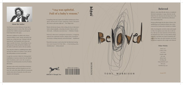 Dust jacket book cover design for Beloved by Toni Morrison