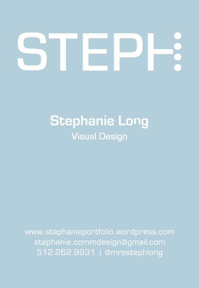 Front of business card, blue, Stephanie Long, contact information
