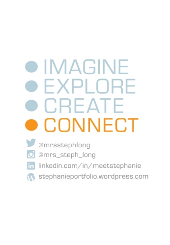 Back of business card, blue and orange text, imagine, explore, create connect and social media sites.