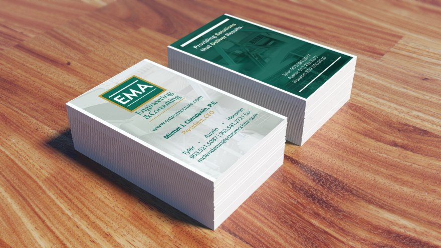 EMA Engineering & Consulting business card design, front and back