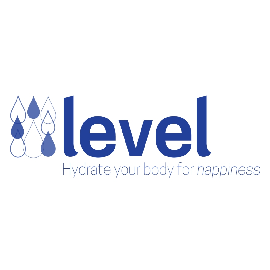 "Blue droplets next to ""level"" in small caps, slogan: Hydrate your body for happiness"