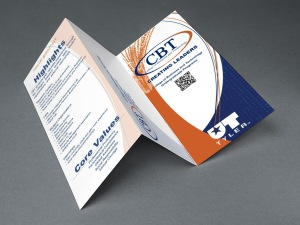 Orange and blue, tri-fold design for University of Texas at Tyler college of business and technology