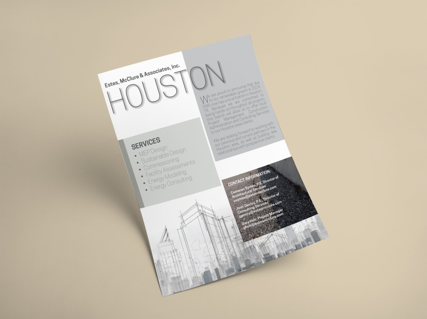 Gray and Brown blocks with thin lettering. Flyer design to introduce EMA's Houston location and projects.