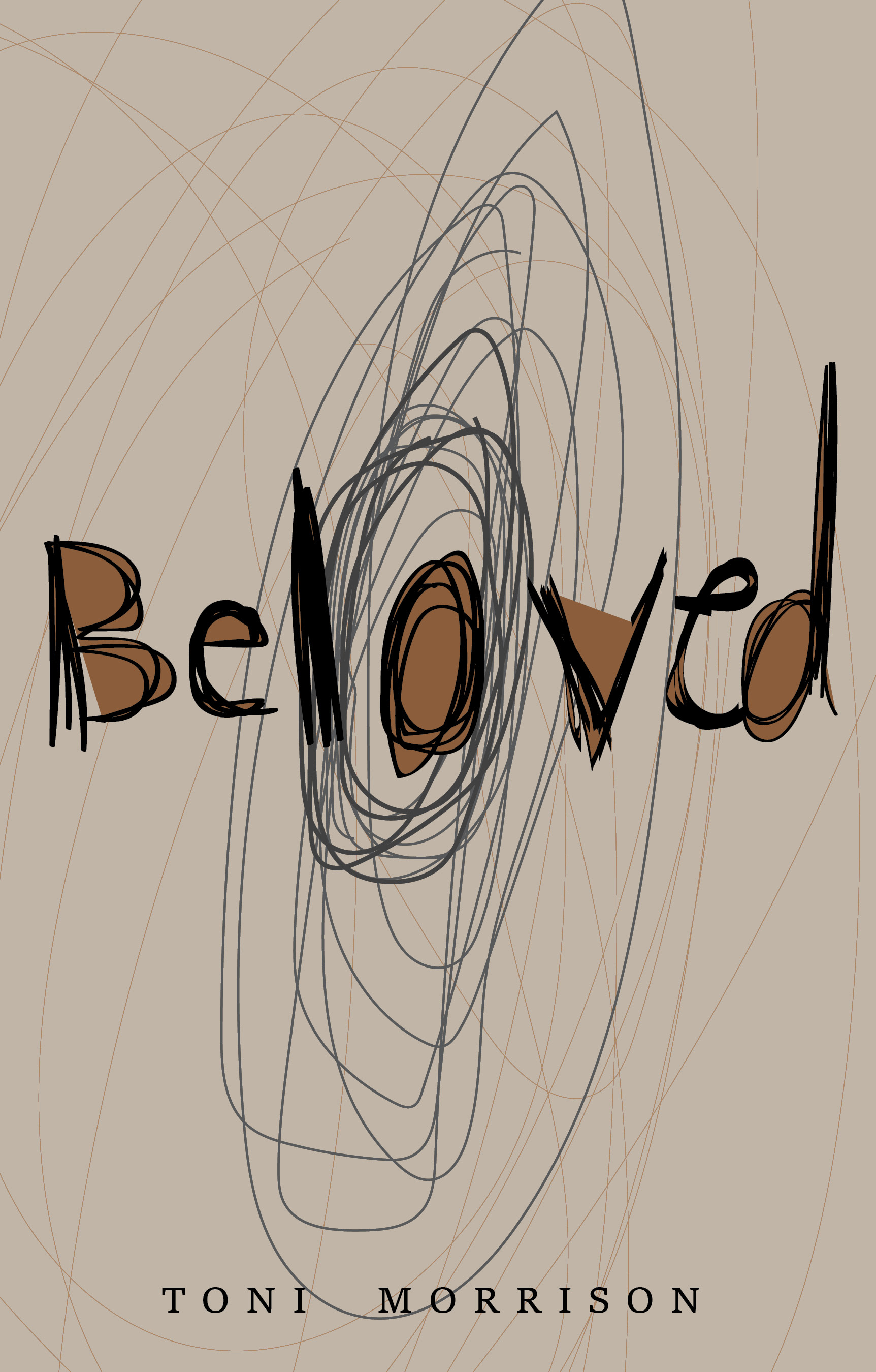 Design for front cover of dust jacket, Beloved, hand lettered