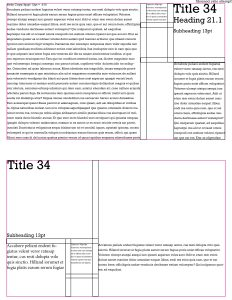 Grid set up, type size and leading ratios, title, body copy, caption, heading, subheading examples