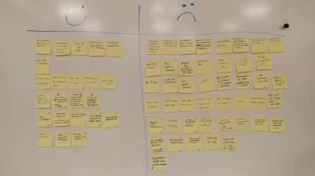 Sticky notes on whiteboard arranged under happy and sad face columns.