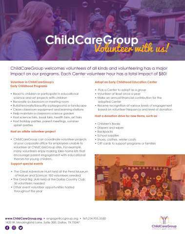 CCG Volunteer Flyer, one page